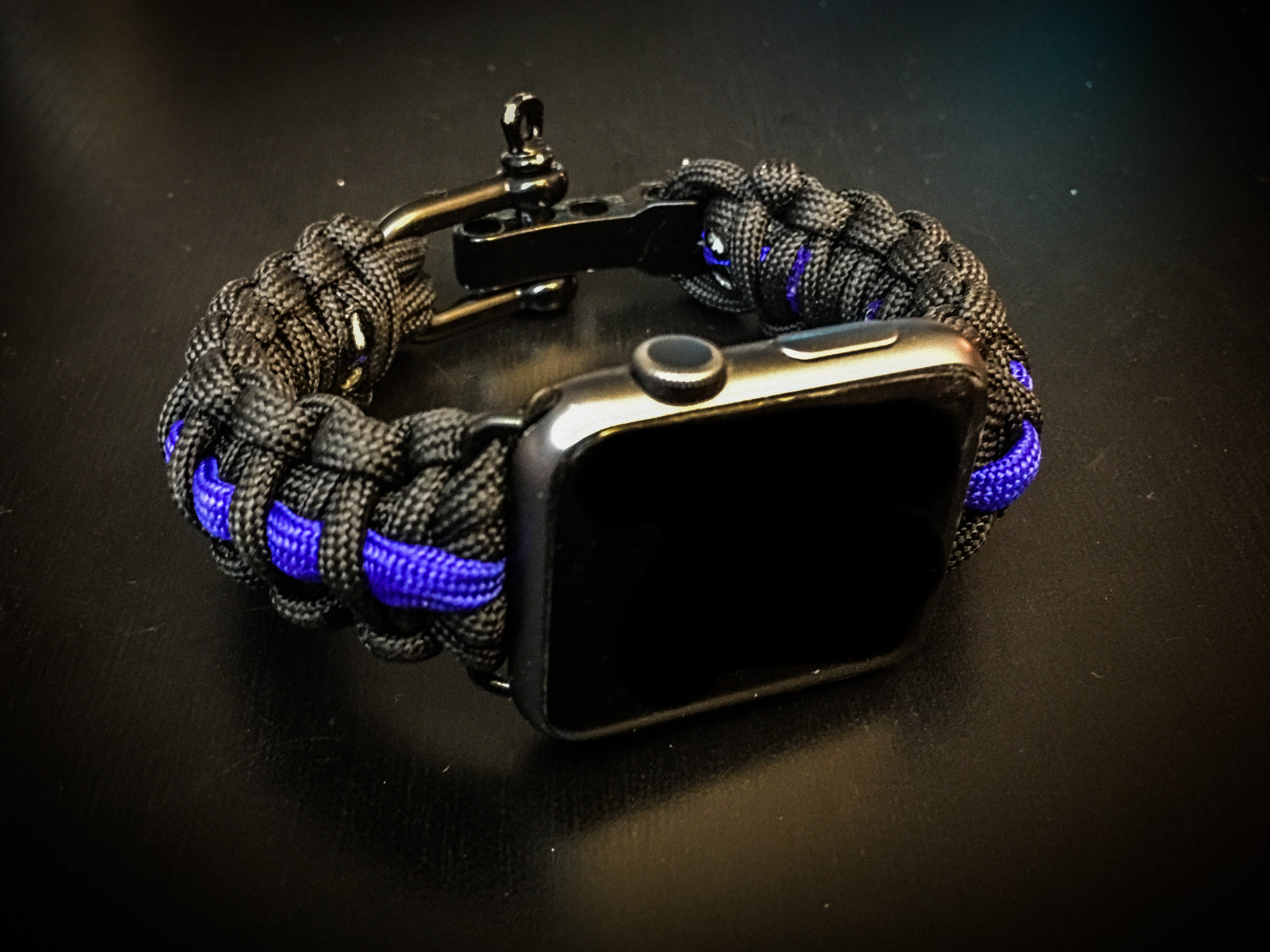 Apple Watch Paracord Band - Thin Blue Line Style, Police, Law Enforcement,  Black Stainless Steel Adjustable Clasp, 550lb MILSPEC cord